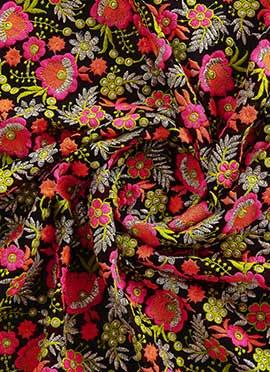Multicolored embroidered Fabric