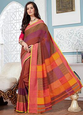 Multicolored Cotton Printed Saree