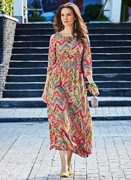 Multicolored Cotton Rayon Long Kurti
