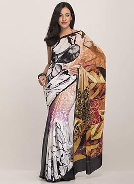 Multicolored Pure Crepe Printed Saree