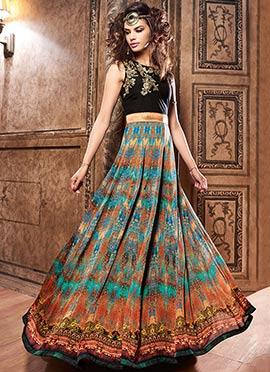 Multicolored Crepe Anarkali suit