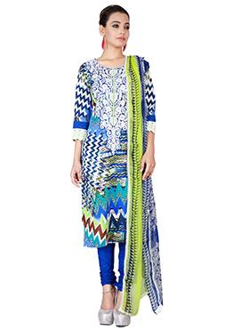 Multicolored Crepe Churidhar Suit