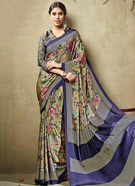 Multicolored Crepe Silk Printed Saree
