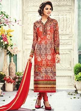 Multicolored Crepe Silk Printed Straight Suit