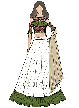 Multicolored embroidered Flared Style Lehenga