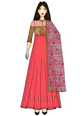 Multicolored Embroidered Full Length Anarkali