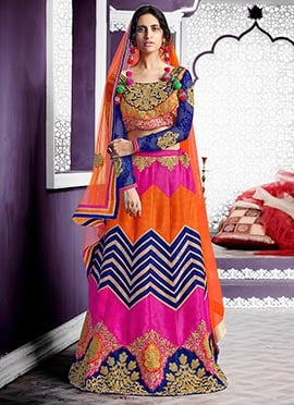Multicolored Embroidered Lehenga Choli