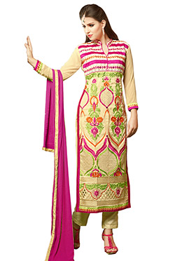 Multicolored Embroidered Straight Pant Suit