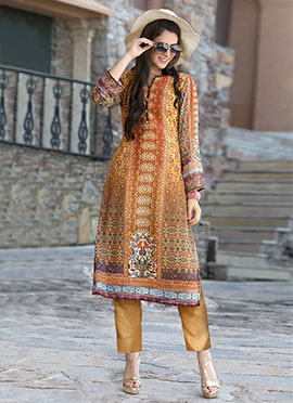 Multicolored faux georgette Kurti