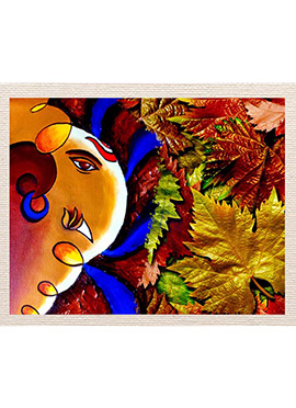 Multicolored Ganesha Leaf Canvas