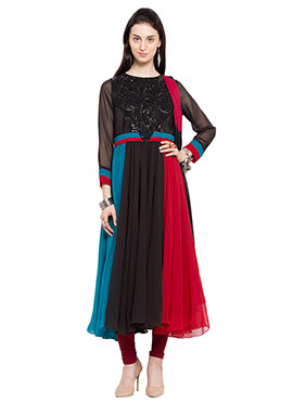 Multicolored Georgette Embroidered Anarkali Suit