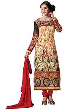 Multicolored Georgette Embroidered Straight Suit