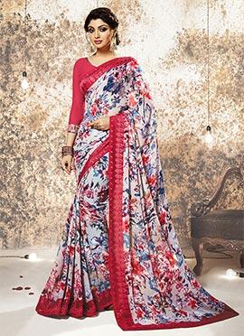 Multicolored Georgette Floral Saree