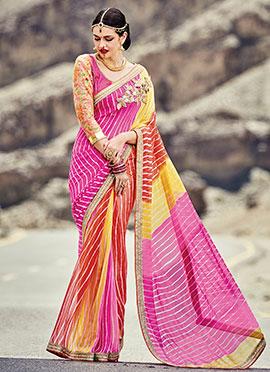 Multicolored Georgette Leheriya Patterned Saree