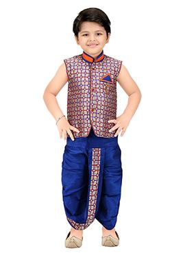 Multicolored Jacquard Kids Dhoti Kurta Set