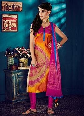 Multicolored Kora Silk Churidar Suit