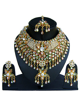 Multicolored Kundan Stone Choker Necklace Set