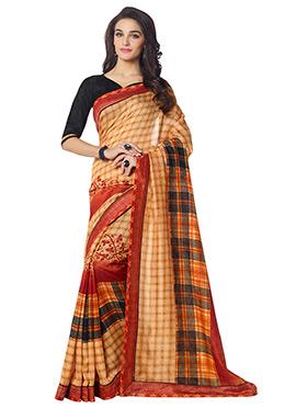 Multicolored Linen Printed Saree