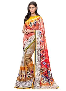 Multicolored Linen Saree