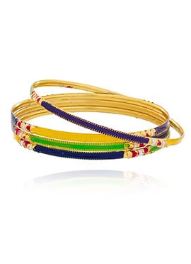Multicolored Meenakari Worked Bangles