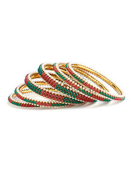 Multicolored Moti Bangles