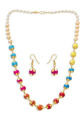 Multicolored Moti Necklace Set