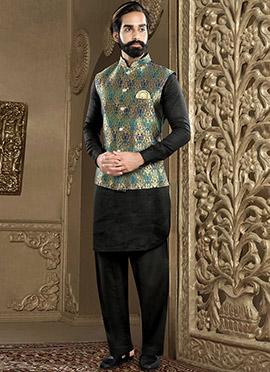 Multicolored N Black Art Silk Bandi Set