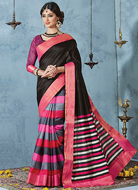 Multicolored N Black Half N Half Saree