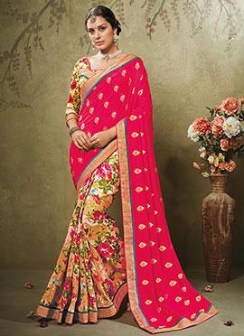 Multicolored N Dark Pink Printed Half N Half Saree