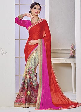 Multicolored N Rust Half N Half Saree