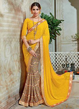 Multicolored N Yellow Printed Half N Half Saree