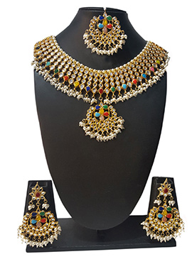 Multicolored Navratna Beads N Kundan Necklace Set
