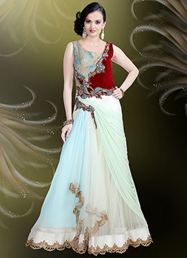 Multicolored Net N Lycra Draped Gown