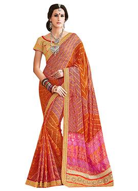 Multicolored Ombre Bandhini Pattern Saree