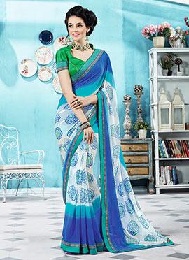 Multicolored Ombre Georgette Bandhini Pattern Saree