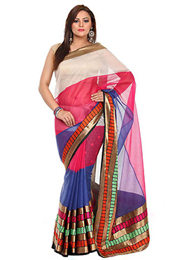 Multicolored Organza Saree
