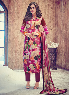 Multicolored Pashmina Straight Pant Suit