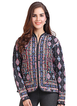 Multicolored Polyester Cardigan