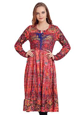 Multicolored Polyester Printed Anarkali Kurti