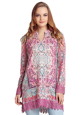 Multicolored Polyester Short Kurti