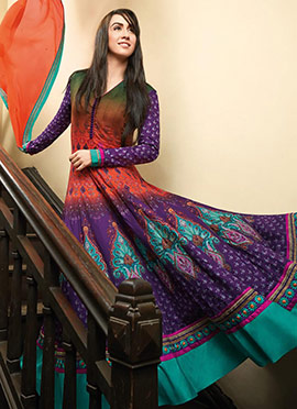 Multicolored Printed Blended Cotton Anarkali Suit
