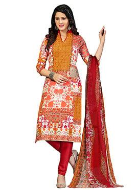 Multicolored Printed Churidar Suit