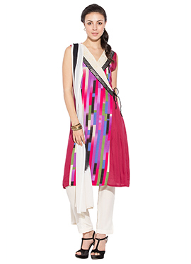 Multicolored Printed Cotton Straight Pant Suit