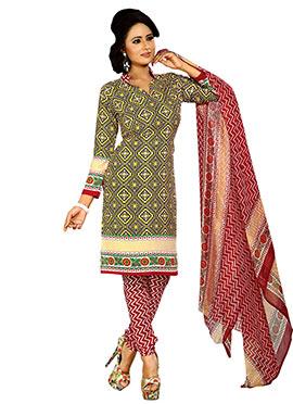 Multicolored Printed Crepe Churidar Suit