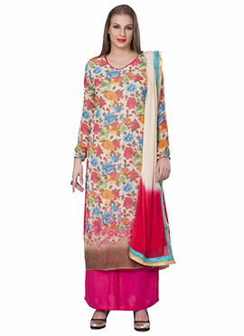 Multicolored Printed Georgette Palazzo Suit