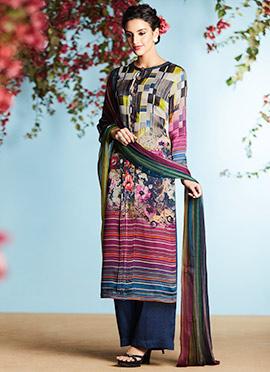 Multicolored Pure Crepe Palazzo Suit