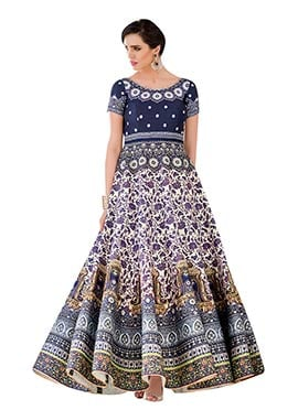 Multicolored Pure Silk  Anarkali Gown