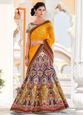 Multicolored Pure Silk A Line Lehenga