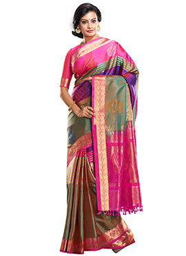 Multicolored Pure Silk Handloom Saree