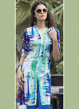 Multicolored Rayon Cotton Tunic